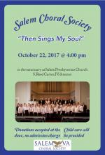 """Then Sings My Soul""  --Salem Choral Society's Fall Concert"